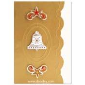 kaart borduren kerst met klok en sterren hoekjes