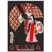 kaart geisha met grote waaiers