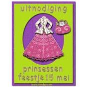 kaart uitnodiging met jurk en tasje