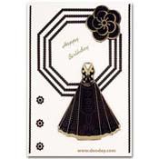 kaart happy birthday zwart wit