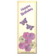 kaart happy birthday vlinders en bloemen