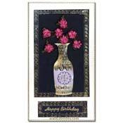 verjaardagskaart met geborduurde vaas