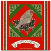 kerst kaart vogel met ster hoejes