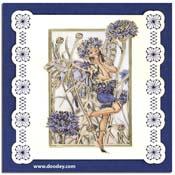 kaart met flower fairy korenbloem met borduurachte