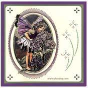 Kaart met flower fairy heliotrope in ovaal gebordu