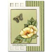 kaart met bloemen en vlinder