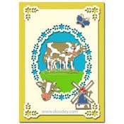 Card I love Holland with Cow and Windmill