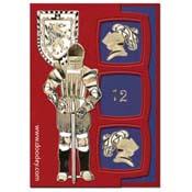 ridderkaart met zwaard helm en schild