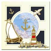 Marine kaart met vuurtoren