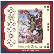 Flower Fairies kaart rode bes merry christmas