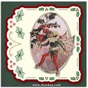 Flower Fairies kaart hulst met borduursel