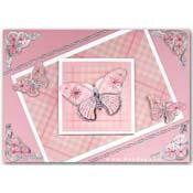 Kaart vlinders en borduur hoekje ornament