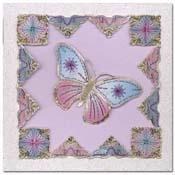 Kaart geborduurde vlinder met hoekje