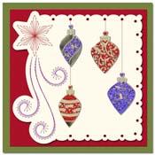 kaart borduren met kerstballen