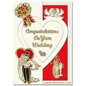 kaart trouwen met glazen, trouwpaar, duif en bloem