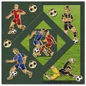 kaart met voetbal spelers, keeper en scheidsrechte