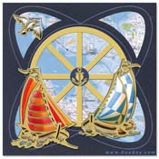 card with sailboats and a bird