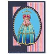 kaart met mode jurk en kleerhanger