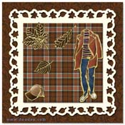 kaart met herfst bladeren, pet en mode kleding