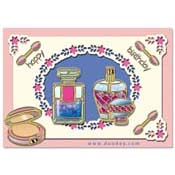 card with make-up and perfume
