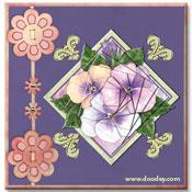 3D piramide kaart met viooltjes