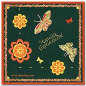 verjaardagskaart bloemen en vlinders
