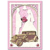 trouwkaart met oldtimer auto