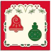 geborduurde kerstkaart met kerstballen en klokken