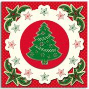 geborduurde kerstkaart met kerstboom