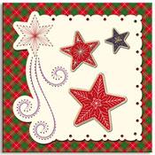 geborduurde kerstkaart met sterren