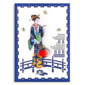 chinese kaart geisha in tuin
