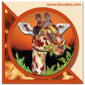 3D safari minikaartje met giraffe