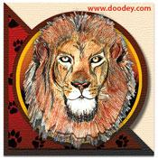 3D safari minikaartje met leeuw