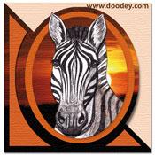 3D safari minikaartje met zebra