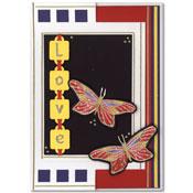 kaart love met vlinders
