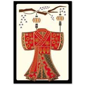 oriental kaart met geborduurde kimono