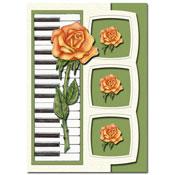 kaart met bloemen en piano