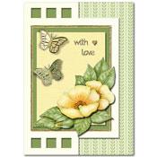kaart met bloemen en vlinders