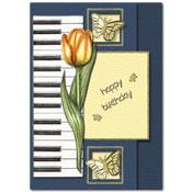 verjaardagskaart met bloemen, vlinders en een pian