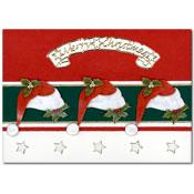kerstkaart met kerstmutsen