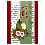 kerstkaart met bloemen en een wijnfles