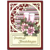 kerstkaart met bloemen en wijnglazen