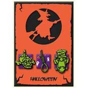 Halloween kaart met heks voor maan
