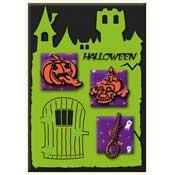 Halloween kaart met spookhuis