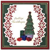 Kerstkaart  met kerstboom en kadootjes