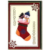 Kerstkaart  met kerstsok en sneewpopje