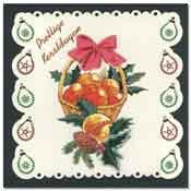 borduur kerstkaart met appel mand