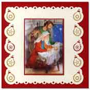 borduur kerstkaart met kindje jezus