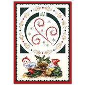 kerst borduurkaart met tuinkabouters