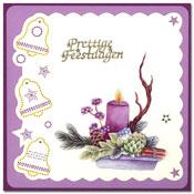 borduurkaart met kerststukje